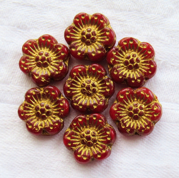 Twelve Czech glass wild rose flower beads - 14mm translucent red opaline floral beads with a gold wash C07105