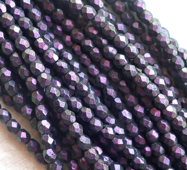 Lot of 50 3mm Czech flass beads, Polychrome Black Currant, purple, amethyst, blackberry faceted, round, firepolished beads C3650