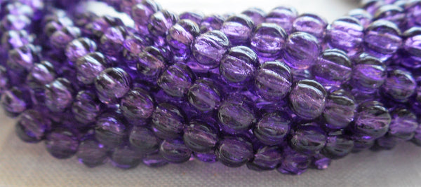 Lot of 100 3mm Transparent Tanzanite, Amethyst, violet melon beads, pressed purple glass Czech beads, C16101