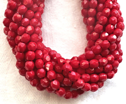 Lot of 50 4mm Czech glass beads - opaque dark blood red beads - faceted - round - firepolished glass beads C4950