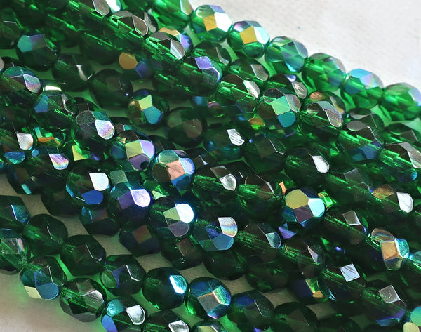 Lot of 25 6mm Emerald Green AB Czech Glass beads, firepolished faceted round glass beads C7501