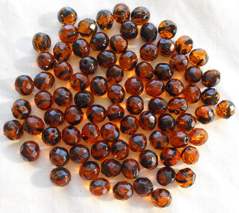 25 8mm Tortoise Shell, Tortoiseshell, Amber faceted round firepolished glass beads C7825 - Glorious Glass Beads