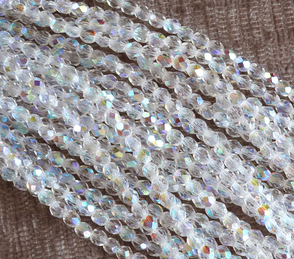 Lot of 50 4mm Crystal AB, faceted round firepolished glass beads C2501 - Glorious Glass Beads