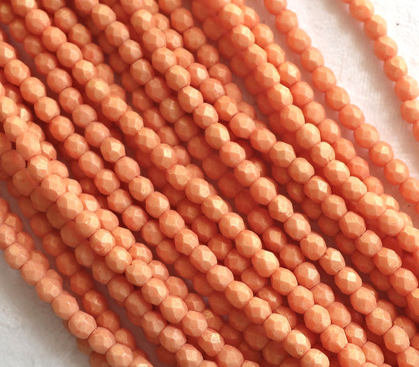 Lot of 50 4mm opaque creamy orange Czech glass beads, Pacifica Tangerine firepolished, faceted round beads, C9501