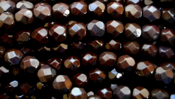 25 6mm Czech glass beads, dark brown Wild Raisin firepolished faceted round beads C5525 - Glorious Glass Beads