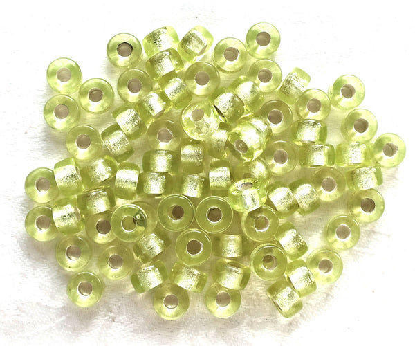 Lot of 25 9mm Jonquil yellow green silver lined Czech glass pony roller beads, large hole crow beads, C4601 - Glorious Glass Beads