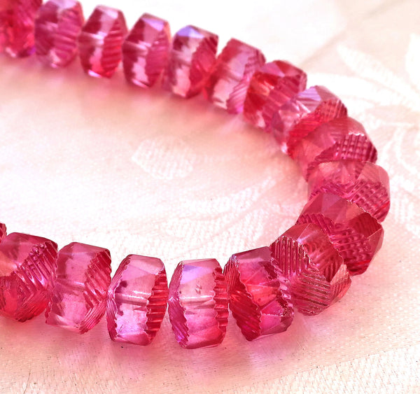 Lot of 6 Czech glass faceted wavy rondelle beads, large 14 x 6mm fuchsia, bright pink AB chunky rondelles, focal beads C38101 - Glorious Glass Beads