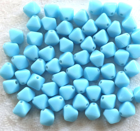 Lot of fifty 6mm opaque Turquoise Blue bicones, Czech glass bicone beads, C5901