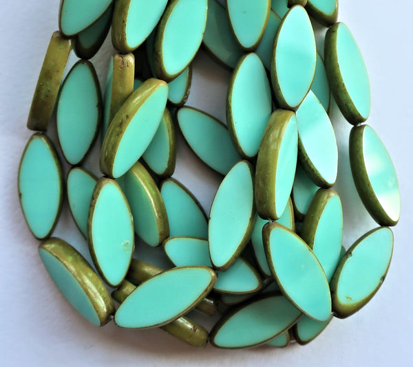 Ten 7 x 18mm, Sea-foam Green oblong, oval, table cut, picasso Czech glass spindle bead, large opaque almond shaped long tube beads C50201 - Glorious Glass Beads