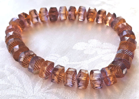 Lot of 6 Czech glass faceted wavy rondelle beads, large 14 x 6mm Peach & Amethyst / Purple chunky rondelles, focal beads C05101