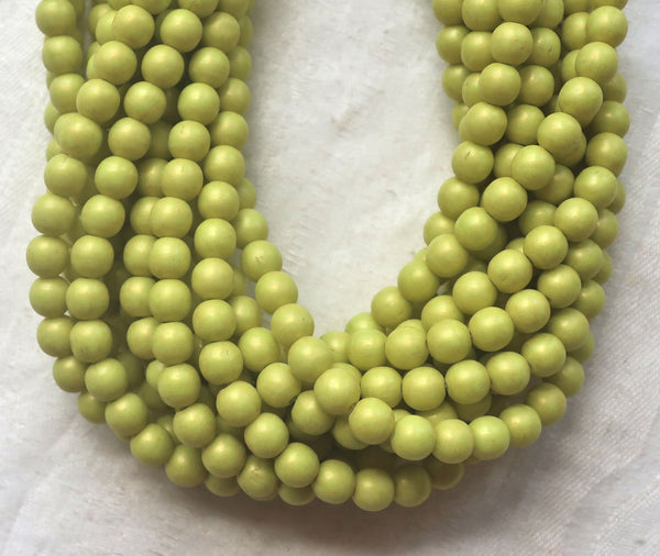 Lot of 50 6mm Czech glass beads, druks, opaque Pacific Honeydew, chartreuse green smooth round druk beads C03150