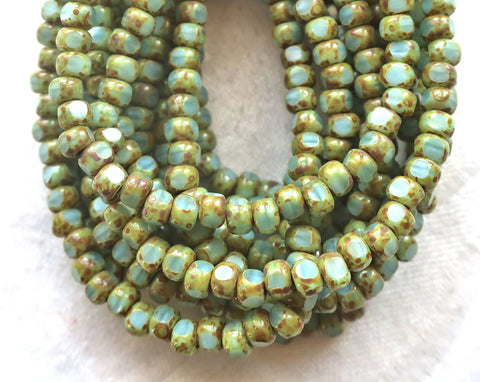 50 4 x 3mm, Tricut, Tri-cut, 3 cut Round Czech glass beads, sky blue picasso, rustin, earthy 6/0 seed beads C54101 - Glorious Glass Beads