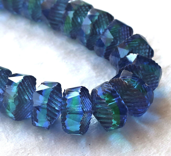Six Czech glass faceted wavy rondelle beads, large 14 x 6mm sapphire blue & green with bronze accents, chunky rondelles, C18101