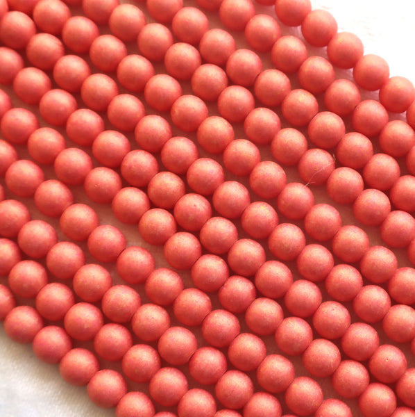 Lot of fifty 5mm Pacifica Watermelon red, pink, Czech glass druks - pressed glass, smooth round druk beads C03101