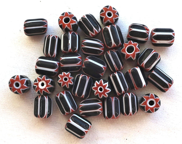 Twelve black, white & red striped chevron glass tube or barrel beads, big hole rustic beads, approx 9x 7mm C7401 - Glorious Glass Beads