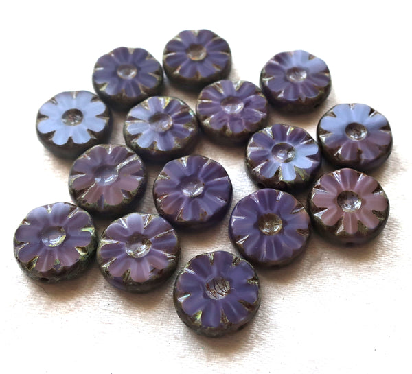 15 Czech glass flower, wheel, coin or disc beads, table cut, carved, opaque purple with gray picasso accents,12mm x 4mm, C82101 - Glorious Glass Beads
