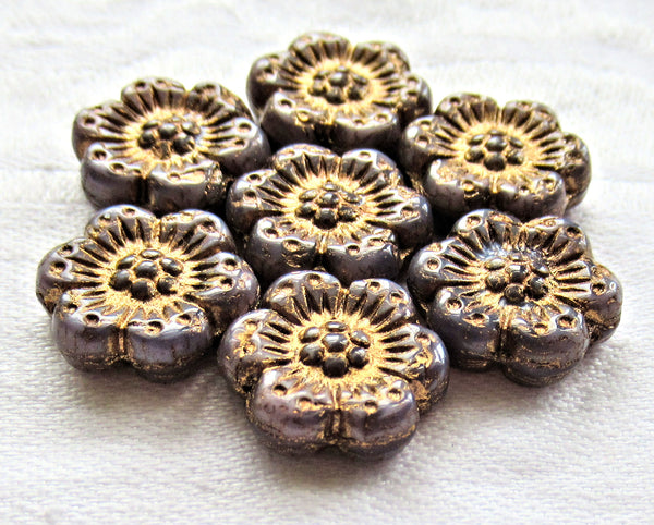 Twelve Czech glass wild rose flower beads - 14mm opaque purple, amethyst floral beads with a bronze wash C07105