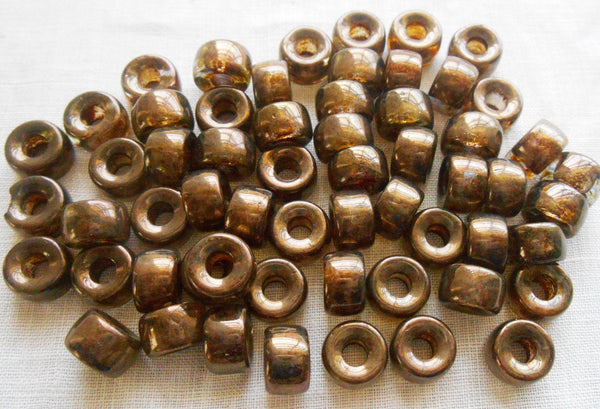 25 9mm Czech Dark Lumi Brown glass pony roller beads, large hole crow beads, C4725 - Glorious Glass Beads
