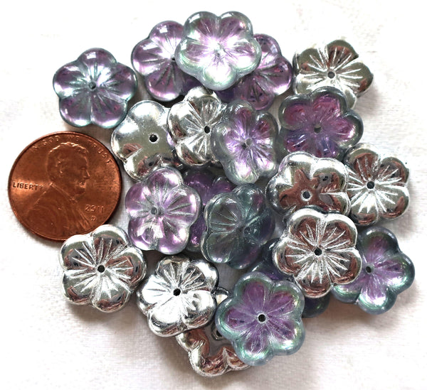 Ten 14mm Metallic silver, crysta,l purple, blue vitral flower beads, Czech glass spacer or cap beads C0601
