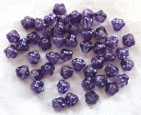 Lot of 50 6mm x 4mm Purple Salvia baby Bell Flower Czech glass beads, Tanzanite pressed glass beads C05101