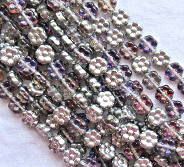 Lot of 25 8mm Amethyst / Silver Czech glass flower beads - purple & silver pressed glass flower beads - C5301