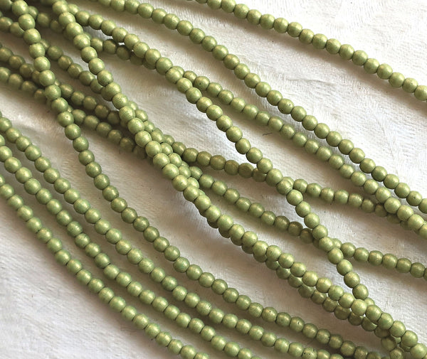 Lot of 100 3mm opaque green Czech glass druks, Pacifica Avocado smooth round druk beads C8901