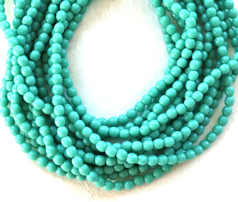 Lot of 100 3mm turquoise blue green Czech glass druks, smooth round druk beads C6601