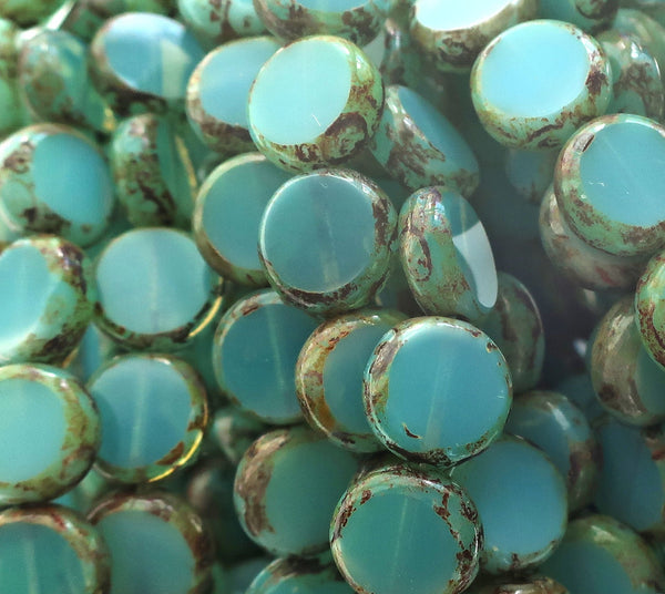 Lot of 15 Czech glass coin or disc beads - thick flat round beads - translucent turquoise blue opaline beads with a picasso finish 02201