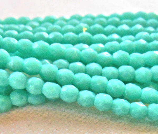 Lot of 50 3mm opaque Turquoise Blue Czech glass beads, firepolished faceted round beads, C1550