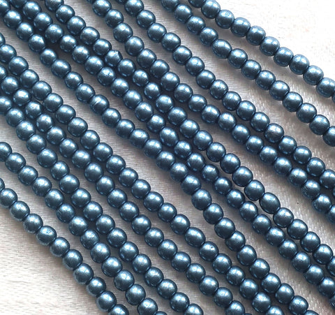 Lot of 100 3mm Czech glass druks, Saturated Metallic Gray, smooth round druk beads C3601