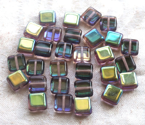 Lot of 30 8mm one hole flat square Czech glass beads, blue, green & purple mix with an iridescentt AB finish C10101