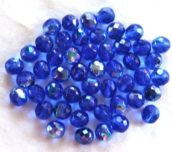 25 8mm Czech glass beads, Sapphire Blue AB, firepolished faceted round beads C1625 - Glorious Glass Beads