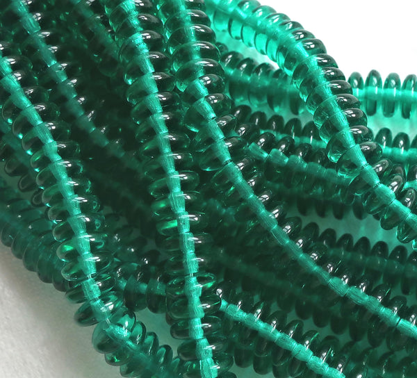 Lot of 50 6mm Czech glass rondelle beads, Emerald green flat spacers or rondelles C3301