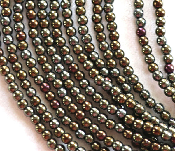 Lot of 100 3mm brown iris Czech glass druks, smooth round druk beads C8401