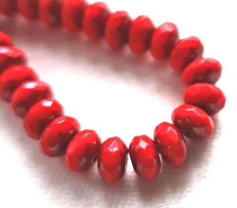 Lot of 25 Opaque Bright Red Picasso faceted puffy rondelle or donut beads, 5 x 7mm, Czech glass beads C16101