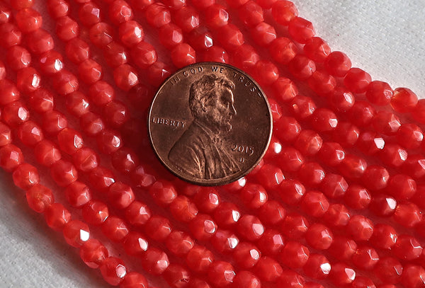 50 4mm Persimmon / Coral Red Czech glass beads, firepolished, faceted translucent round beads C8550