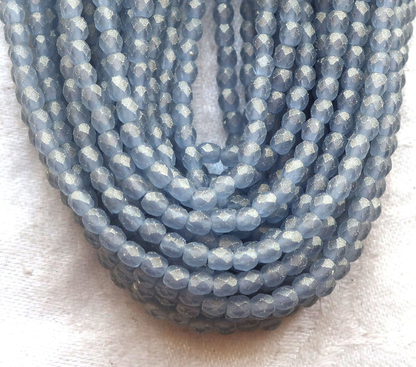 Lot of 50 3mm Czech glass beads, Sueded Gold Montana Blue, blue / gray firepolished faceted round beads C1550