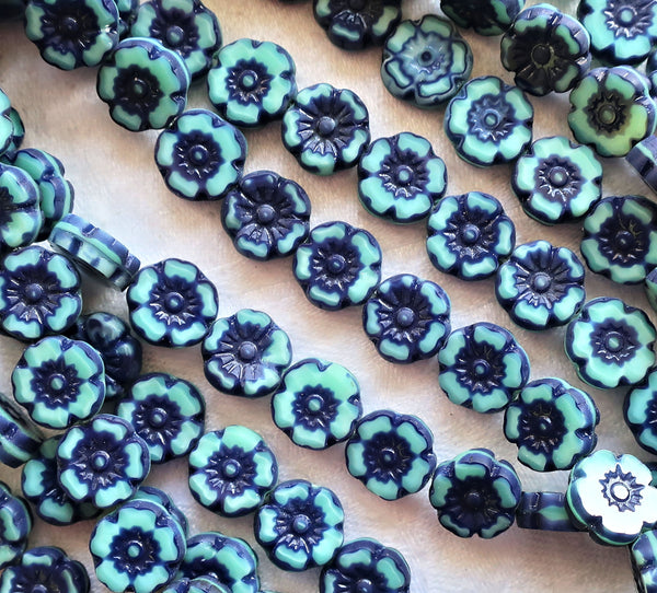 Ten Czech glass flower beads - 10mm opaque two tone denim blue Hawaiian flowers - table cut, carved floral beads C10101