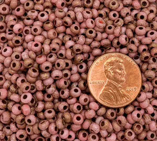24 grams Czech glass seed beads - 6/0 etched pink with copper accents Preciosa Rocaille seed beads - C0691