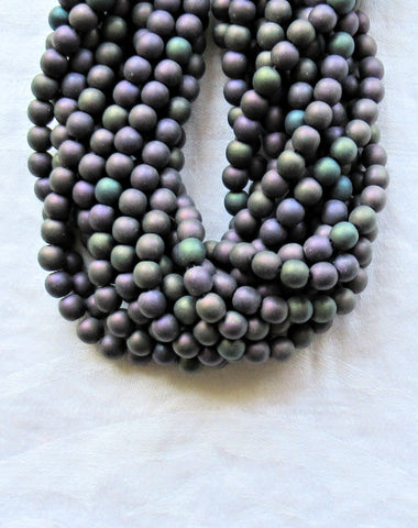 Lot of 50 6mm matte purple iris Czech glass beads, - smooth round druk beads - C5601 - Glorious Glass Beads