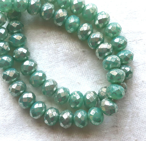 Lot of 25 Czech glass faceted puffy rondelle beads, opaque lightmint green with a silver mercury finish, donut beads, 5 x 7mm C00201 - Glorious Glass Beads