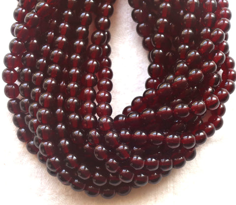 Lot of 50 6mm Czech glass druks, deep garnet red smooth round druk beads C2850