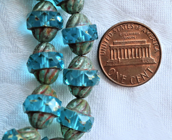 Five Czech glass turbine beads, 11 x 10mm transparent Aqua Blue beads with a picasso finish, saturn beads C0901