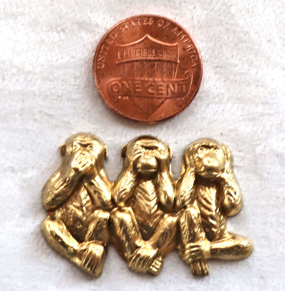 Two sets three monkeys; speak, see & hear no evil monkey raw brass stampings, lucky monkyes pendants, charms, 18.5 x 12mm, USA made C4902 - Glorious Glass Beads