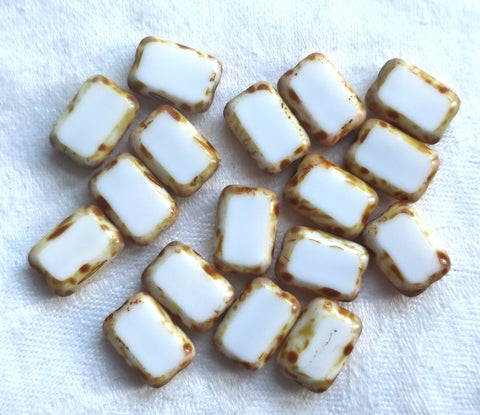 Lot of ten rectangular Czech glass beads, opaque white with a picasso finish, 12mm x 8mm, table cut rectangle beads, C4801
