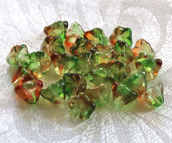 Lot of 25 8mm x 6mm Peach / Pear, orange & green Bell Flower Czech glass beads, multicolor pressed glass beads C5701 - Glorious Glass Beads