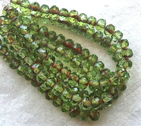 30 small puffy rondelle beads with, transparent peridot green 3mm x 5mm faceted Czech glass rondelles 53101 - Glorious Glass Beads