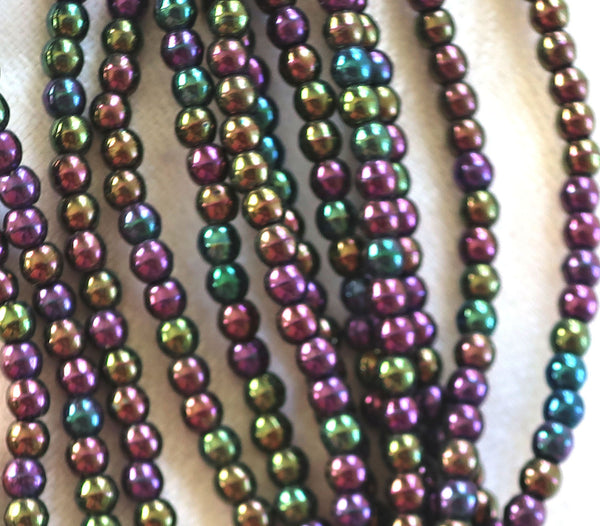 Lot of 100 3mm purple iris Czech glass druks, smooth round druk beads C2401