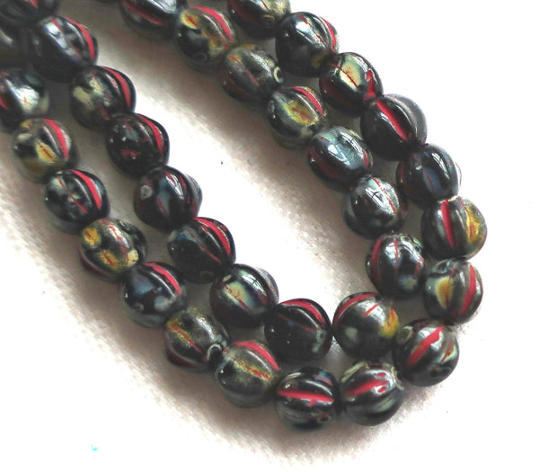 25 Czech glass melon beads. 6mm opaque black with a full picasso finish, spattered, pressed glass beads C2701 - Glorious Glass Beads