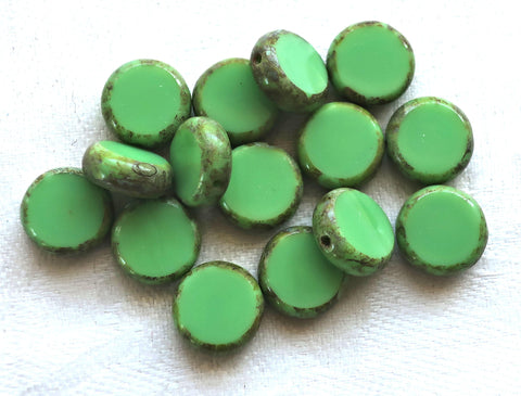 15 green Czech glass coin, disc beads, flat round beads, opaque mint or lime green beads with a picasso finish 02201